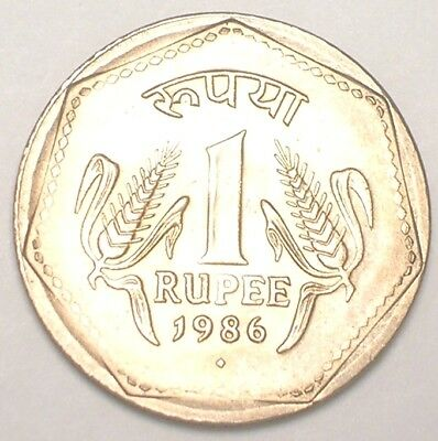1986 India Indian One 1 Rupee Three Lions Coin Coin XF