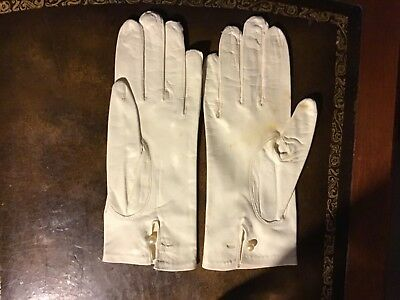 Vintage Van Raalet Woman's Leather Evening Gloves W/ Pearl Button