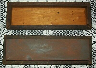 VINTAGE DOUBLE-SIDED SHARPENING STONE in stained wooden box