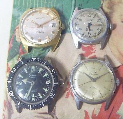GROUP Lot- FOUR Vintage Gents Wristwatches- Waltham, Helbros, Elgin, Sheffield!