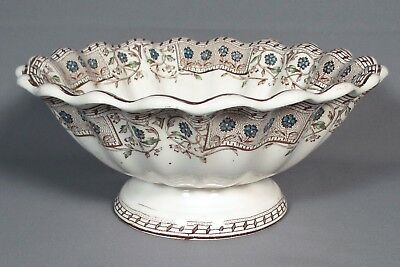 """T&R Boote Burmah Aesthetic Movement Brown Transfer Fluted Compote, 9 3/8""""D, 1886"""
