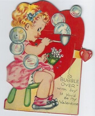 Vintage Mechanical Valentine's Day Card Little Girl Blowing Bubbles Die Cut USA