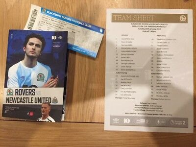 Blackburn V Newcastle Fa Cup 3Rd Round Replay 2018-19 With Teamsheet & Ticket