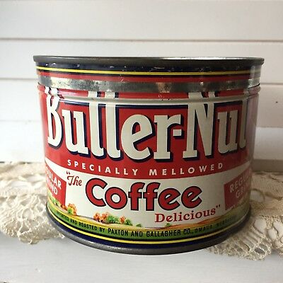VIntage Butter Nut Coffee Can Tin Container Canister