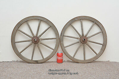 2x vintage old wooden cart wagon wheels wheel - 50.5 cm - FREE DELIVERY