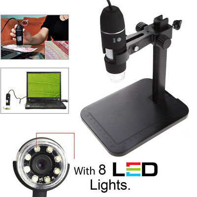 1000X Adjustable Microscope 8 LED Magnification USB Digital Endoscope With Stand
