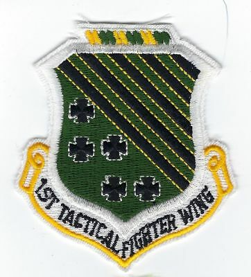"""USAF 1st Tactical Fighter Wing Cut Edge Plastic Back 3¼""""T Patch"""