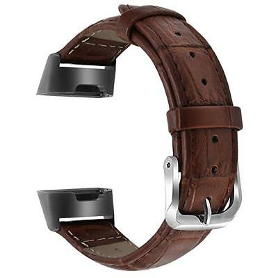 LEATHER BANDS CLASSIC Genuine Fitbit Charge 3 and Charge 3 SE Brown Large