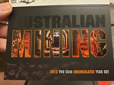 2013 UNC $1 20c Royal Australian Mint Uncirculated Two Coin Year Set Mining