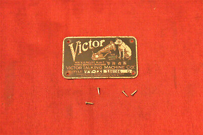 Antique Victor Victrola crank talking machine phonograph ID identification plate