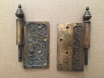 2 Antique 1870 Ornate Victorian Heavy Duty Door Hinges Stamped And Dated