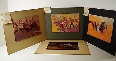 4 Frederic Remington 1912 Painting Print Original Wild West Cowboys Set