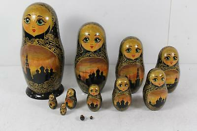Vintage Russian Wooden 12 Piece Hand Painted Matryoshka Nesting Dolls Large