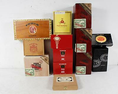 Lot of 13 Various Empty Wooden Cigar Boxes