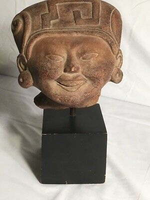 Reproduction Vintage Art Sculpture - Mayan Smiling Head Statue by Alva Studios