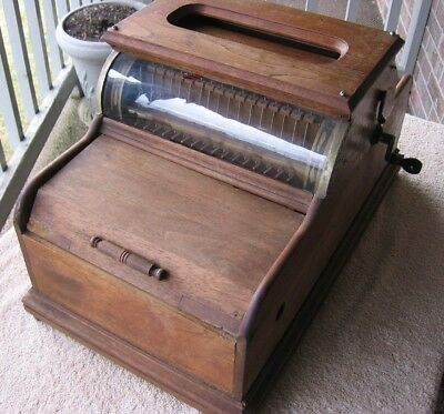 Antique 16 Note Cabinet Organina Expression Hand Crank Music Box in Wooden Case
