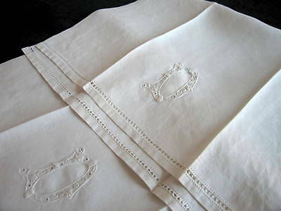 2 Antique Italian Damask Linen Hand Towels Reticella Embroidered Monogram D