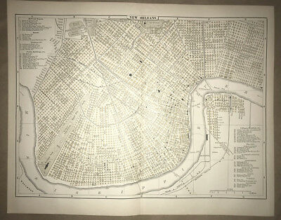 Folding City Map Of New Orleans. 1897.