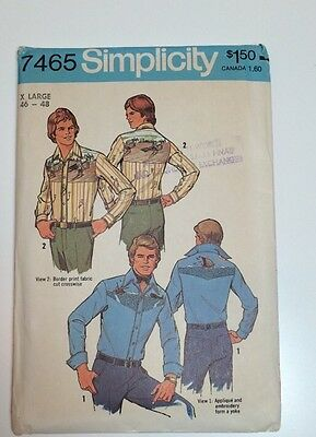 Simplicity 7465 Men's Western Shirts Vintage Pattern XL 46-48 Applique Transfers