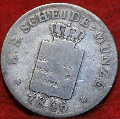 1846 German States Saxony 2 Gulden Silver Foreign Coin