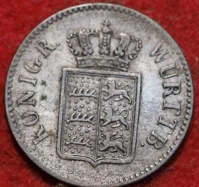 1852 German States Wurttemburg 3 Kreuzer Foreign Coin
