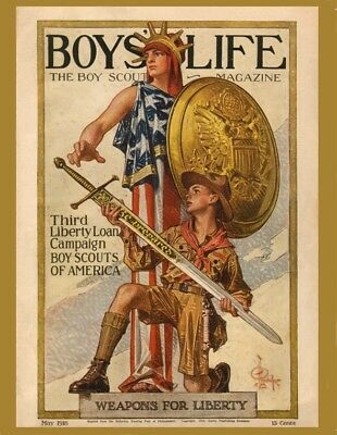 "Lot of 5 Postcards - Cover BOYS' LIFE ""Weapons For Liberty"" Leyendecker May 1918"