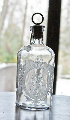Antique Glass Barber Bottle Victorian
