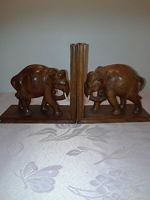 Vintage Pair of Carved Wooden Elephant Bookends Figurines Statues