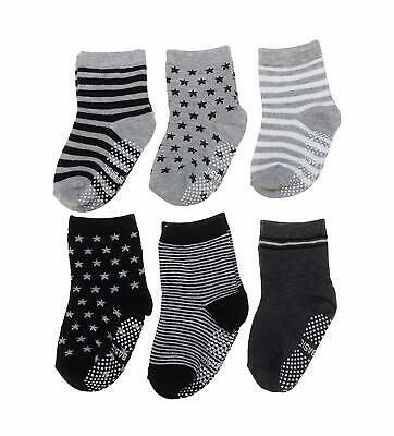 Baby Toddler Socks 6 Pairs Anti-Slip Non-Skid with Grips Boys 2T & 3T Walker