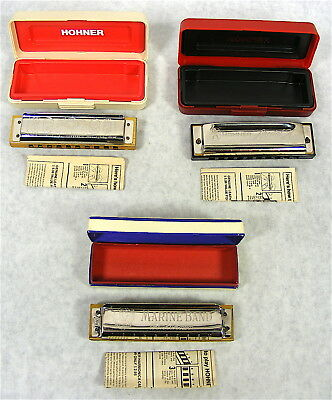 3 Misc. Vintage Hohner Harmonicas - 2 Marine Band, 1 Special 20  (C, C & Bb)
