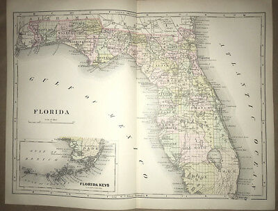 TWO PAGE MAP OF FLORIDA. With the Florida Keys inset. 1897