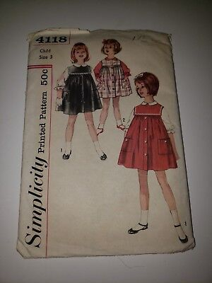 Vintage Girls Sewing Pattern Simplicity Child Size 3 Jumper And Blouse 4118