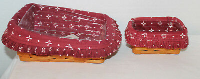 Lot Of 2 Longaberger:  Note Pal Basket,  Business Card, Red Fabrics, Protectors