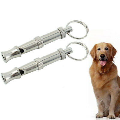 2 x Dog Training Whistle Adjustable High ultrasonic Sound key Chain Puppy ZVP