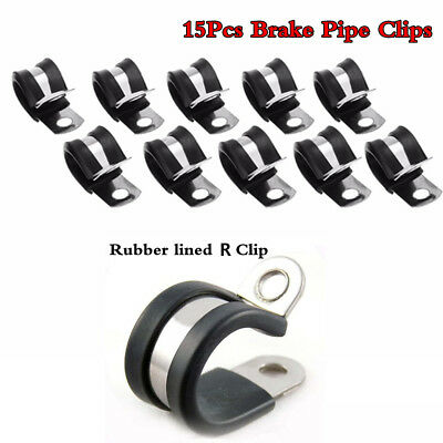 """15Pcs Brake Pipe Clips Rubber Lined P Clips 3/16"""" lines R clips"""
