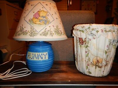 Collectible Disney Classic Winnie The Pooh Lamp Blue Hunny Honey 🍯 Pot w Shade