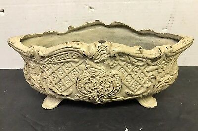"""Vintage-Style Footed French Cast Iron Planter Urn Jardiniere 12"""" W"""