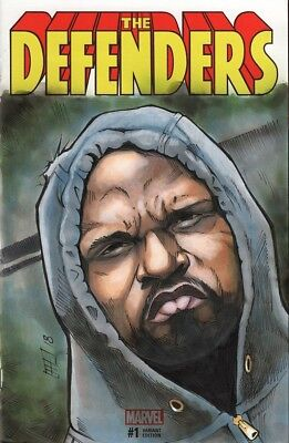 The Defenders #1 Sketch Cover Featuring Mike Colter As Luke Cage By Brad Hudson