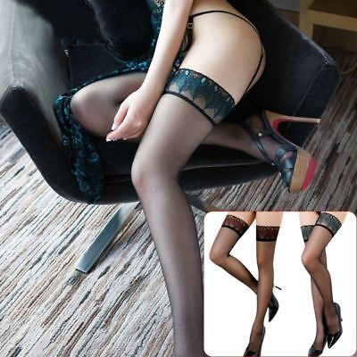 Sexy Women Over Knee Tights Thigh High Peacock Lace Top Stockings Long Socks L