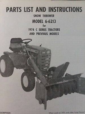 Wheel Horse Lawn Garden Tractor Snow Thrower Implement 6-6213 (C Series) Manual