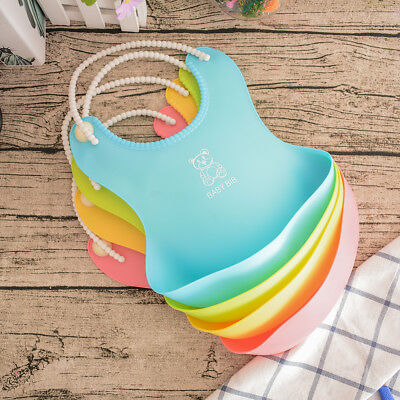 Hot Sales Baby Waterproof Silicone Bib Infants Feeding Lunch Roll-up Apron Kid