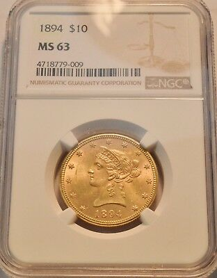1894 $10 NGC MS 63 Gold Liberty Eagle, Choice Uncirculated Ten Dollar Coin