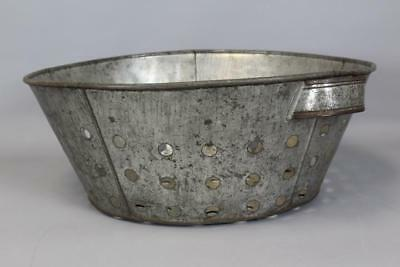 A Rare 19Th C Enfield Ct Shaker Tin Cheese Sieve In The Best Original Surface