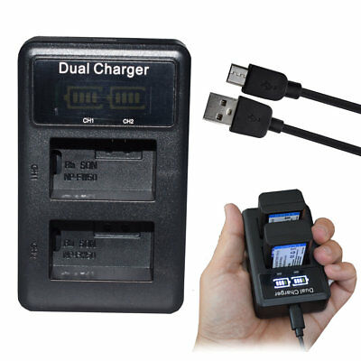 LED Dual USB NP-FW50 Battery Charger For Sony Alpha A6300 A6500 A6000 A7r A7