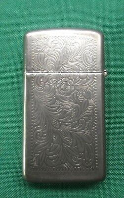 Vintage Silver Lighter Etched Zippo Made in USA! Sterling?