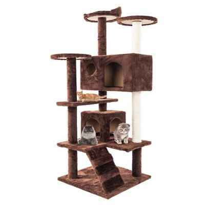 "52"" Cat Tree Condo Furniture Scratch Post Pet Play House Home Gym Tower Brown"