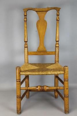 Rare 18Th C Woodbury Ct Queen Anne Side Chair In Maple And Ash Great Early Form