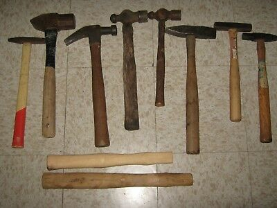 Vintage lot of 8 sledge, cross peen, ball peen hammer heads, blacksmith