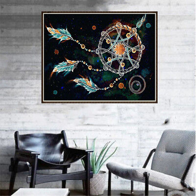5D Diy feather Diamond Painting Embroidery Indian Dream catcher Cross Stitch HU