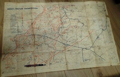 Original WW1 Trench Map Enemy sector organization field map used ww1 Australian
